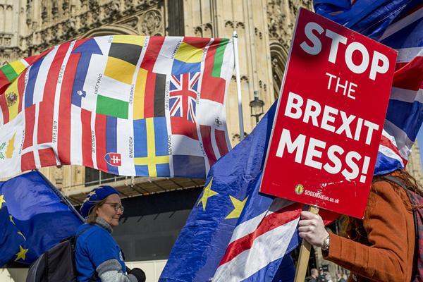 英国脱欧延期至10月底  留欧派人士议会大厦外示威游行