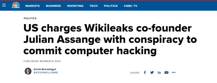 美国司法部对阿桑奇提起诉讼 指控他密谋入侵美国政府机密电脑