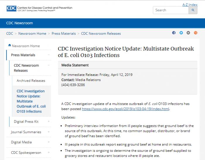 美CDC宣布多州大肠杆菌爆发或源于受污染的碎牛肉