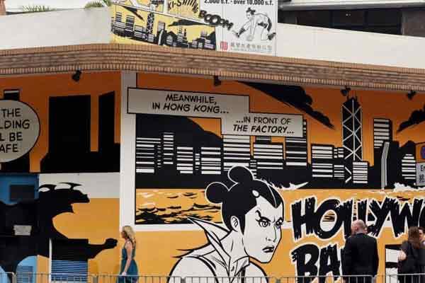 香港黄竹坑工厦区涂鸦艺术吸引游客