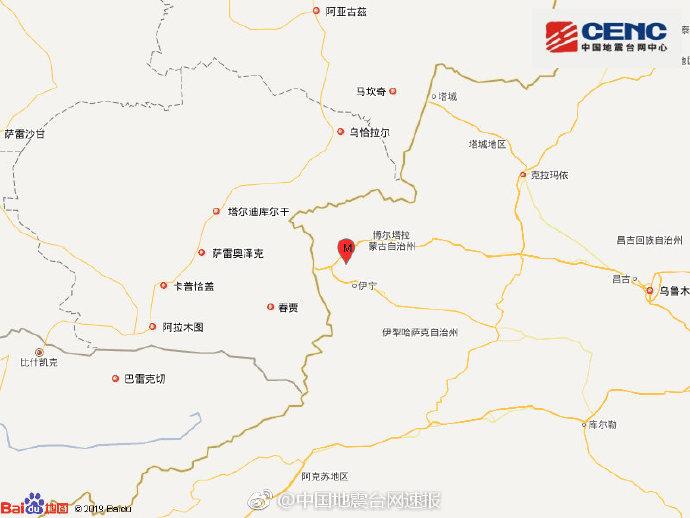 新疆伊犁州霍城县发生4.3级地震 震源深度16千米