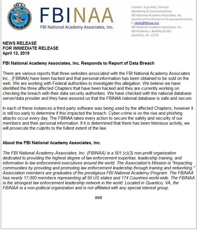 FBI网站被黑 黑客获取100万条联邦特工身份信息