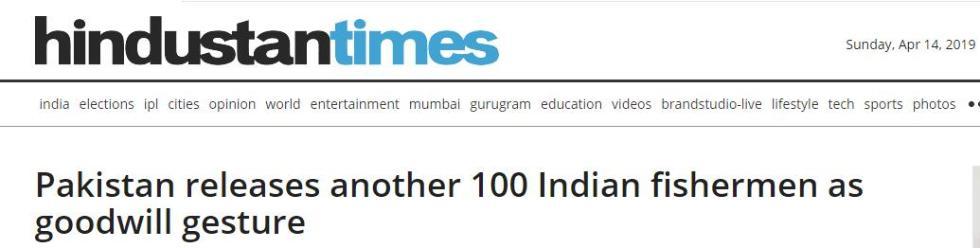 巴基斯坦再释放100名印度渔民 印媒:释放善意