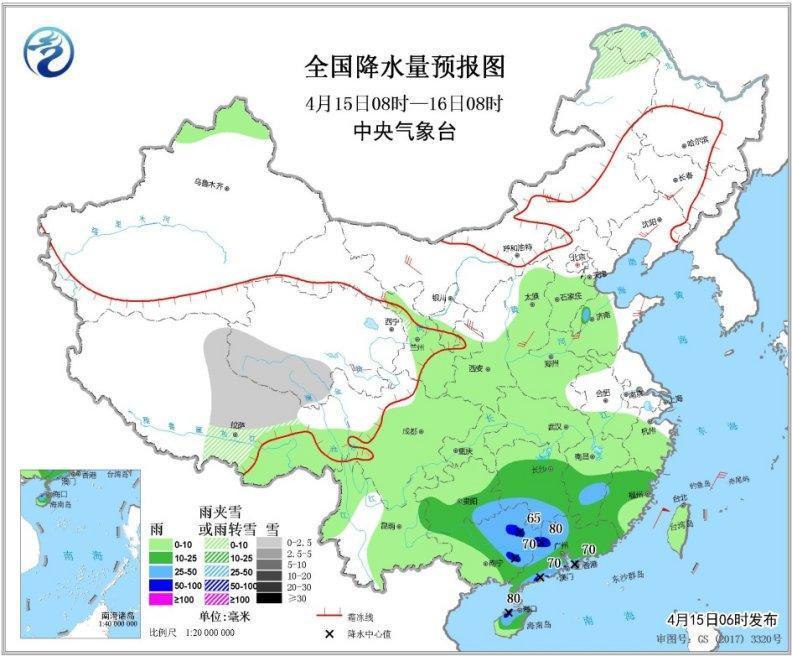 華南江南南部等地有強降水 北方部分地區有大風沙塵