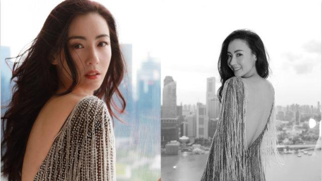 张柏芝穿银色流苏裙秀美背 回眸一笑太迷人