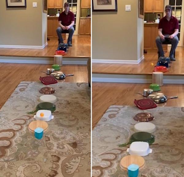 美国一男子将乒乓球弹过一排倒扣厨具落入杯中