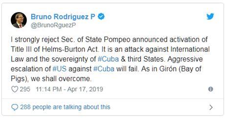 """美宣布制裁古巴,古巴官员:就像""""猪湾事件""""那样,将会失败"""