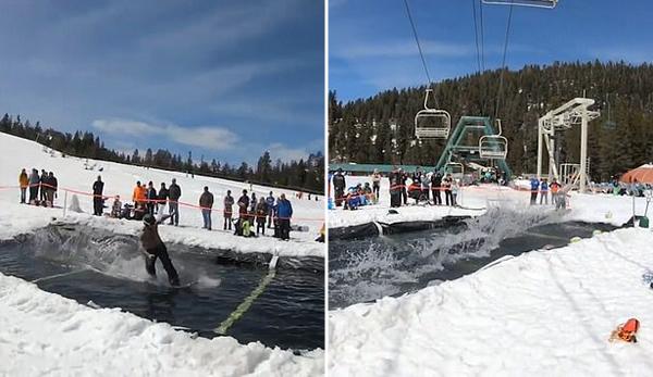 美滑雪者极速滑过水面做前空翻特技引众人惊呼