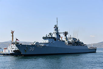 """马来西亚海军护卫舰访问日本 舰名""""琉球""""亮了"""