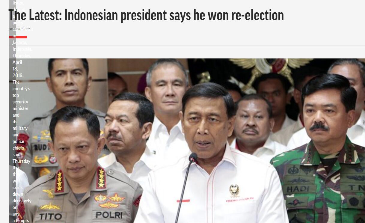 印尼大选,现任总统佐科正式宣布胜选