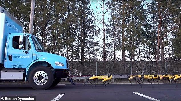 """""""机械雪橇犬"""" 波士顿动力用十台机器狗拉动卡车"""