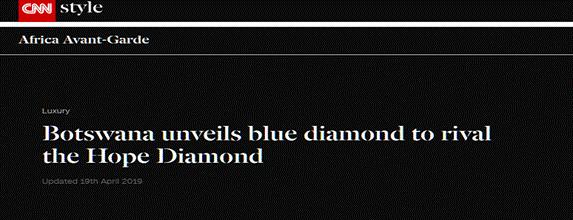"""博茨瓦纳发现境内最大蓝钻 价值可能超过世界最大蓝钻""""希望之星"""""""