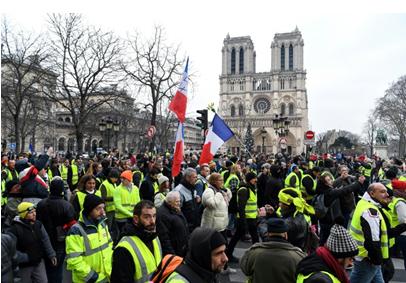 """第23次""""黄背心""""抗议在即,法警方禁止抗议者靠近巴黎圣母院"""