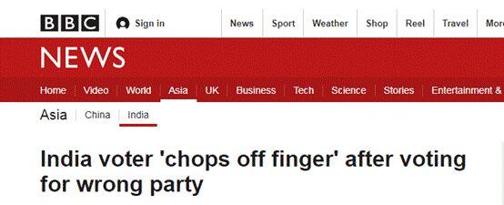 投票投错政党 印度一选民竟切断自己的食指
