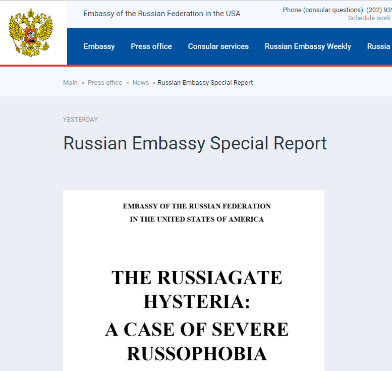 """俄媒:俄驻美大使馆发布120页报告,以反击""""穆勒报告"""""""