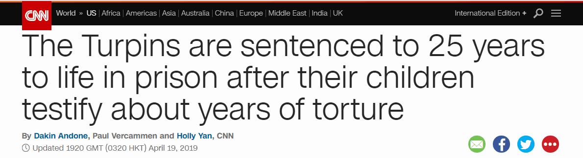 美夫妇囚禁、折磨12个子女多年,被判终身监禁