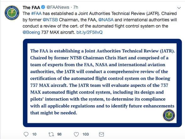FAA组建国际审查组 下周将对737 Max进行初步认证