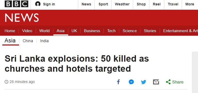 斯里兰卡官员:6个地点几乎同时发生爆炸