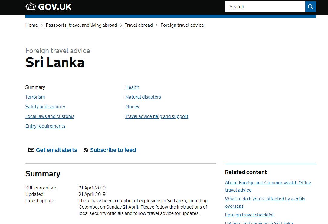 斯里兰卡多起爆炸后 英国发出旅行建议