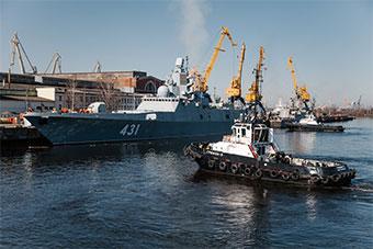 访华俄22350型护卫舰二号舰进入第二阶段海试