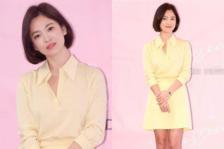 宋慧乔短发配嫩黄短裙出席韩国活动 仍未戴婚戒