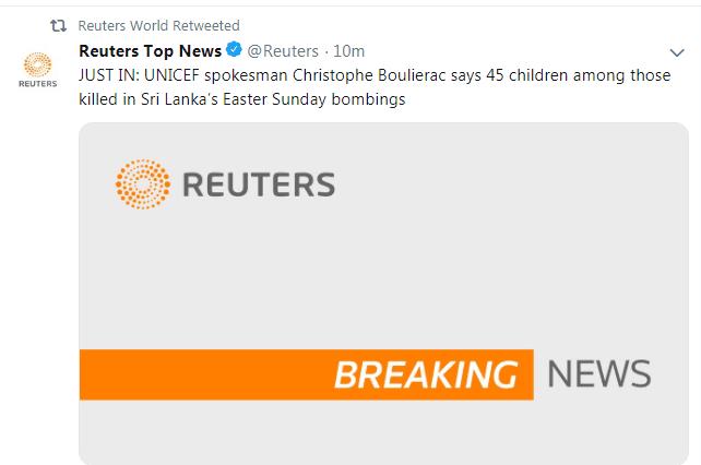 快讯!斯里兰卡连环爆炸案致45名儿童遇难