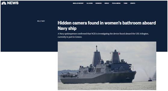 美军又出这种事了:女兵厕所发现隐藏摄像头