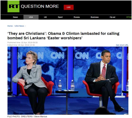 """美政客悼念斯里兰卡爆炸遇难者避称""""基督徒"""",网友不买账"""