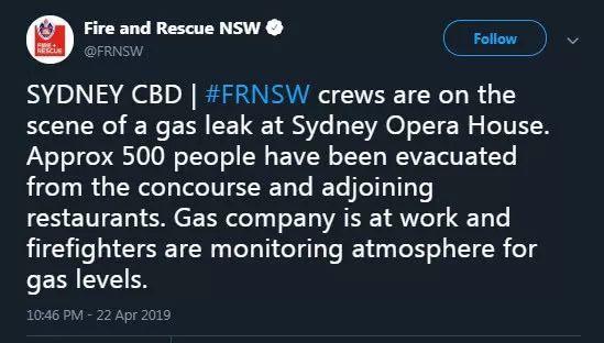 突发:燃气泄漏,500人从悉尼歌剧院紧急撤离