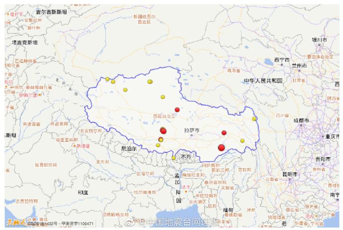 西藏近5年共发生三级以上地震351次