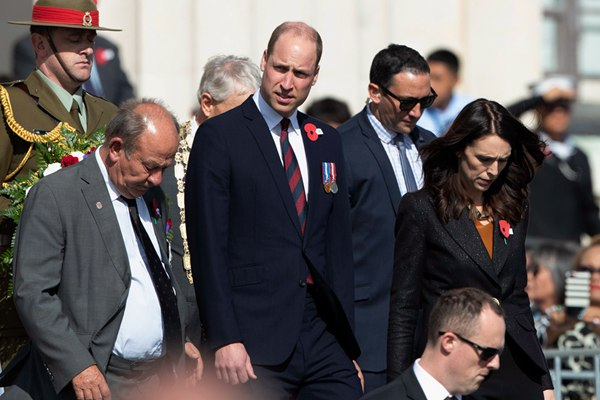 英国威廉王子访新西兰 出席澳新军团日纪念活动