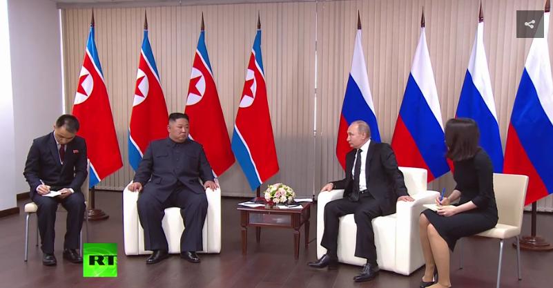 握手了!金正恩与普京首次会晤 将进行一对一会