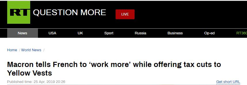"""马克龙安抚""""黄背心"""":减税,但要多工作"""