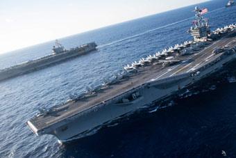 美军双航母地中海秀武力 对俄发出前所未有威胁