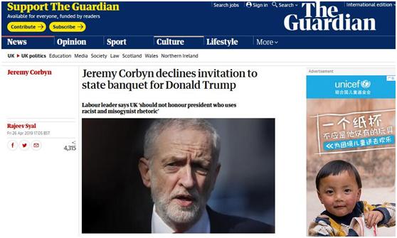 英反对党领袖拒赴特朗普访英国宴 首相又向美国政府卑躬屈膝,失望