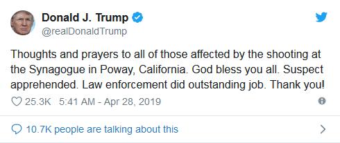 美国圣地亚哥市犹太教堂枪击案致1死3伤,特朗普:上帝保佑你们