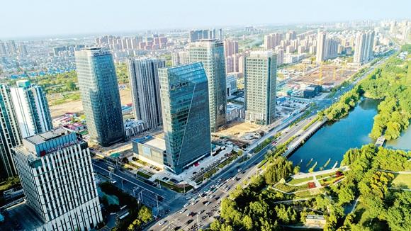 航拍淮安水渡口商圈建筑群 金融中心初展身姿