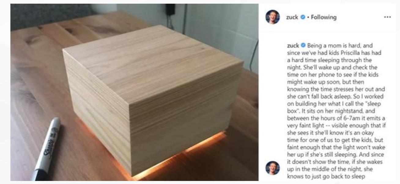 """脸书CEO扎克伯格变身创客 为妻子制作""""睡眠盒子"""""""