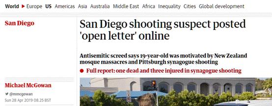 """美犹太教堂枪击案嫌疑人公开信曝光,自称受新西兰枪击案""""启发"""""""