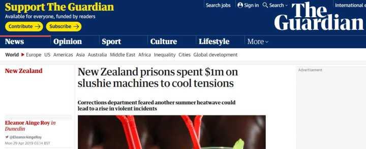 该不该买?新西兰监狱为降暑买冰沙机遭批