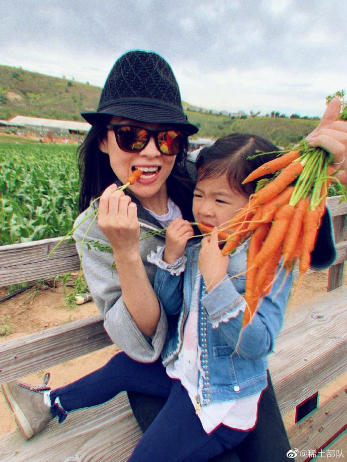 章子怡带女儿农场摘蔬果 醒醒吃胡萝卜脸皱成苦瓜