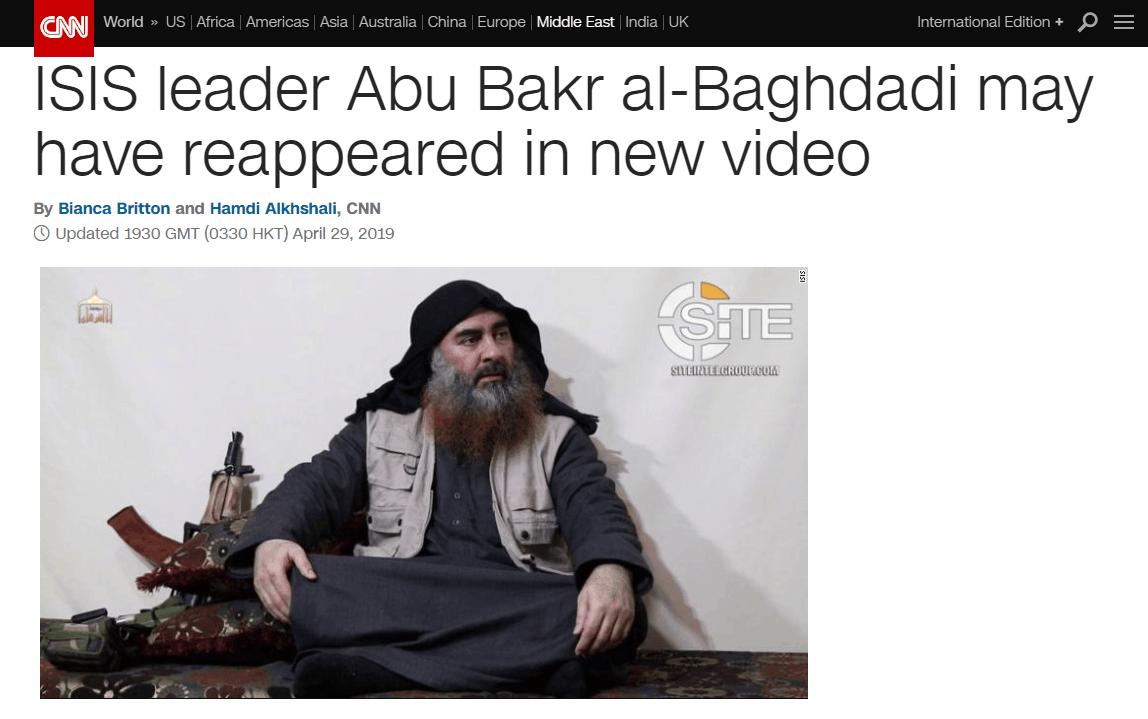 """""""消失""""近5年,""""?#20102;?#20848;国""""首领巴格达迪疑似露面,称赞斯里兰卡爆炸"""