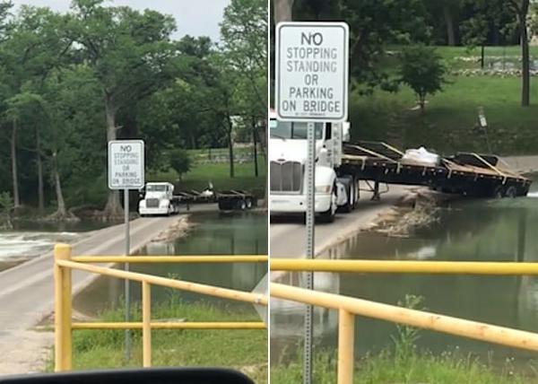 小意思!美国老司机驾卡车娴熟通过河边急转弯