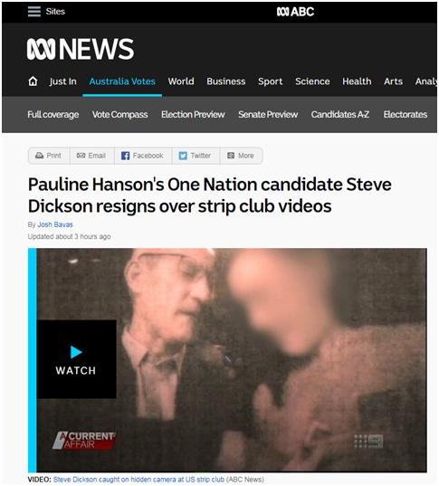 """在脱衣舞俱乐部""""大尺度""""视频曝光,澳政客宣布辞职"""