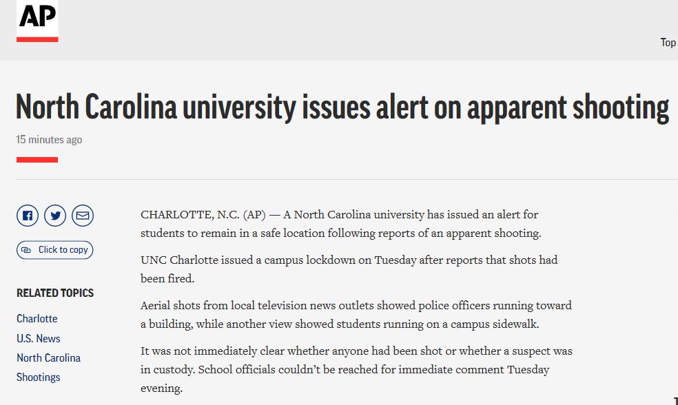 枪声再次响起。! 在美国北卡罗莱纳大学的另一起枪击事件中,两人死亡,四人受伤。