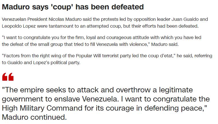 """反对派示威后,马杜罗发表了电视讲话:这是一次""""未遂政变""""。"""""""