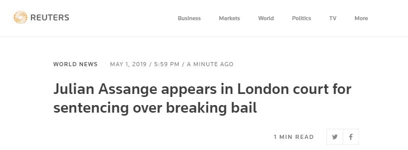 外国媒体:阿桑奇出现在英国伦敦的一家法院,等待判决