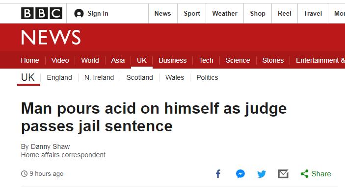 """伦敦法庭现""""惊人一幕?#20445;?#34987;告突然往?#32422;?#36523;上泼酸"""