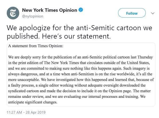 """一张漫画触犯""""天条"""",《纽约时报》道歉整改,""""天条""""是什么?"""