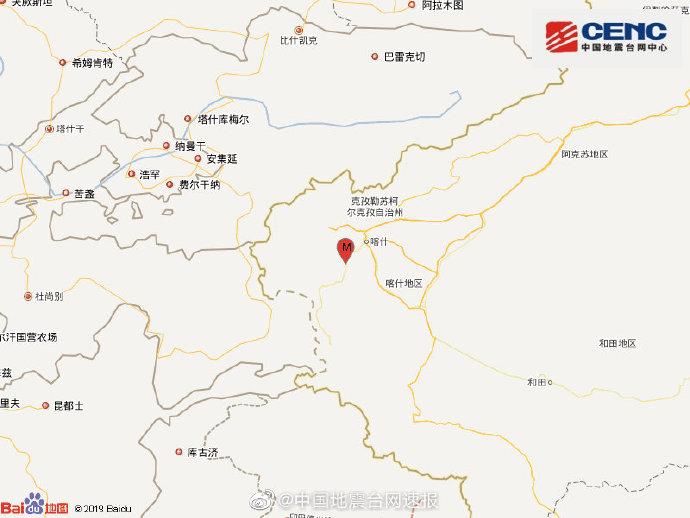 新疆克孜勒苏州阿克陶县发生3.4级地震,震源深度19千米